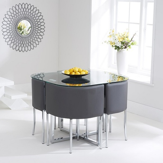 Stowaway Dining Tables And Chairs For Famous Mingo Glass Stowaway Dining Set In Clear With 4 Grey Chairs (View 13 of 20)