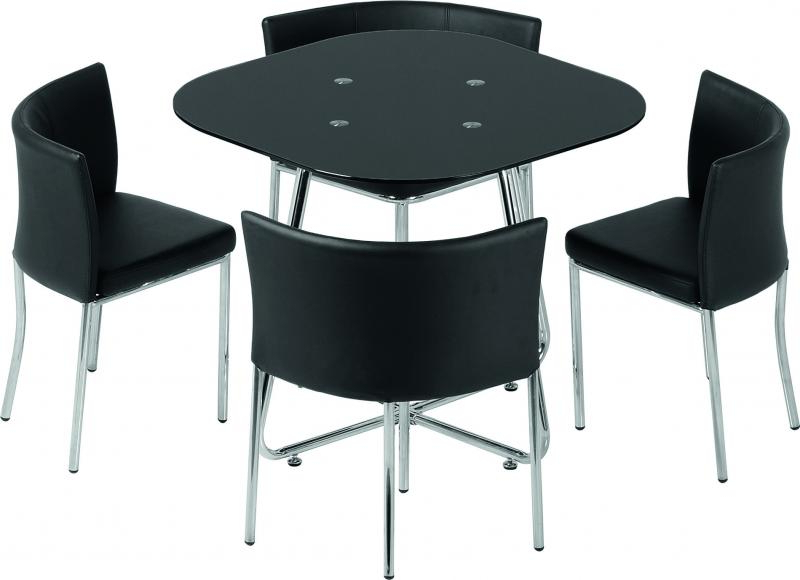 Stowaway Dining Tables And Chairs Pertaining To Most Up To Date Seconique Washington Stowaway Dining Set – Black Glass Chrome (View 16 of 20)