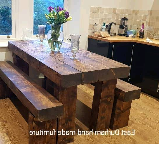 Stunning Dining Table With Bench's Hand Made In Railway Sleepers Throughout Popular Railway Dining Tables (View 16 of 20)