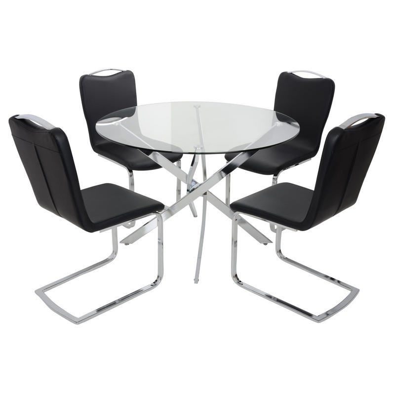 Stunning Round Table With Chairs Round Black Glass Dining Table And Inside Most Up To Date Round Black Glass Dining Tables And 4 Chairs (View 13 of 20)