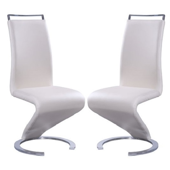 Summer Z Shape Dining Chair In Cream Faux Leather In A Pair Regarding Well Liked Cream Faux Leather Dining Chairs (Gallery 9 of 20)
