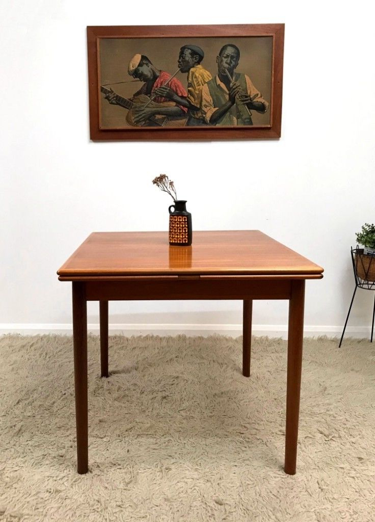 Superb Danish Ansager Mobler Mid Century Teak Square Extending In Well Liked Square Extending Dining Tables (View 19 of 20)