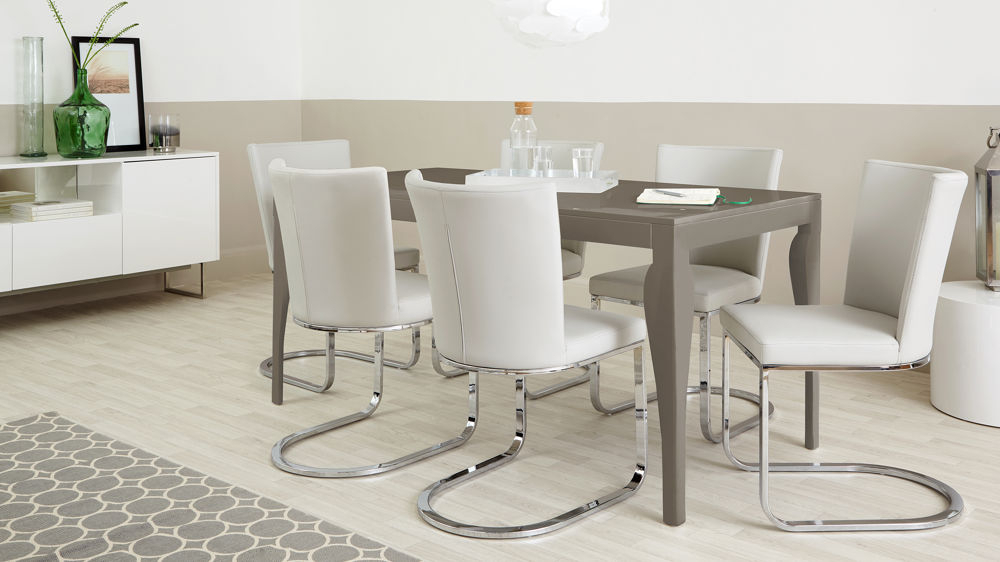 Taupe Grey Gloss For Most Recently Released Dining Tables For Six (View 3 of 20)