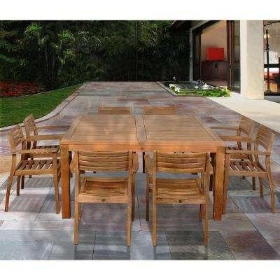 Teak – Patio Dining Furniture – Patio Furniture – The Home Depot Regarding Recent Outdoor Brasilia Teak High Dining Tables (View 6 of 20)