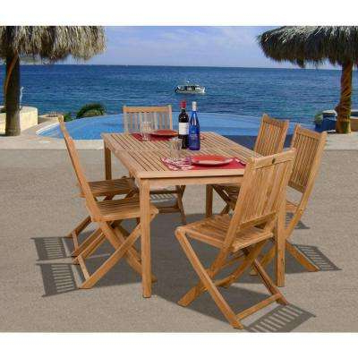 Teak – Patio Dining Sets – Patio Dining Furniture – The Home Depot With Regard To Latest Outdoor Brasilia Teak High Dining Tables (Gallery 4 of 20)
