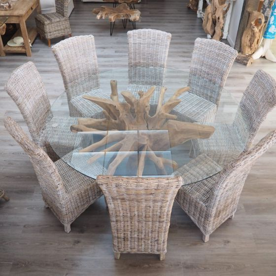 Teak Root Dining Table Set With 8 Wicker Chairs – 180cm Glass – 3 Regarding Best And Newest Wicker And Glass Dining Tables (View 16 of 20)