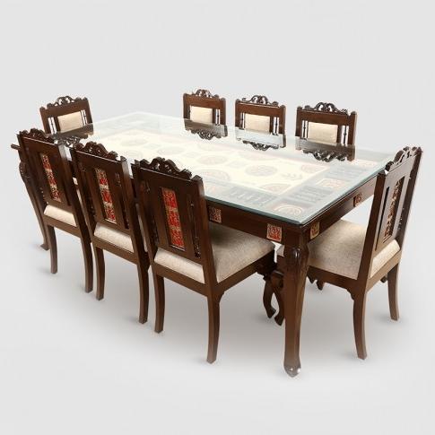 Teak Wood 8 Seater Dining Table In Warli & Dhokra Work With Current 8 Seater Dining Tables (View 7 of 20)