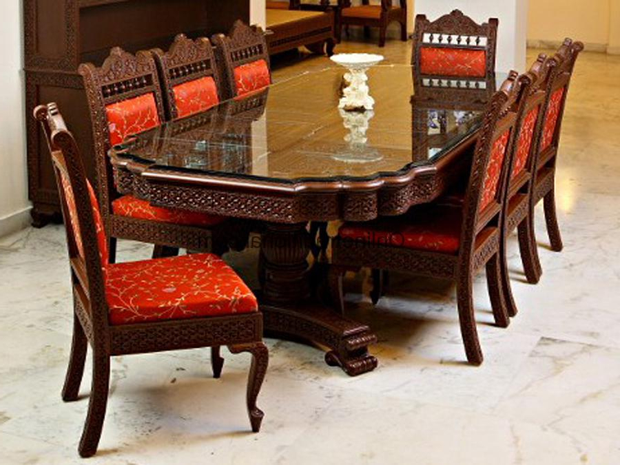 Teak Wooden Dining Table With Matching Chairs Sets For Home (View 4 of 20)