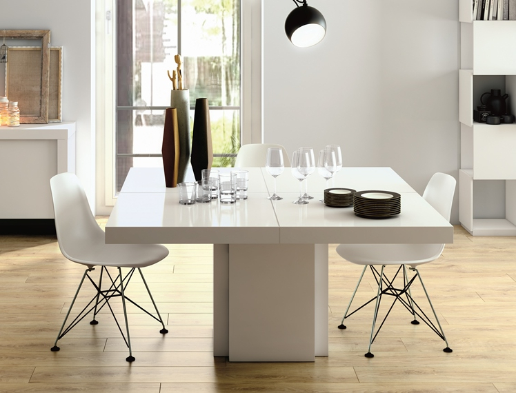 Temahome Dusk, Modern Dining Table In Gloss White Throughout Latest Cream High Gloss Dining Tables (View 20 of 20)