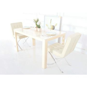 Tempered Glass In Cream Color And Mdf Dining Table With High Gloss With Regard To Most Up To Date High Gloss Cream Dining Tables (View 16 of 20)