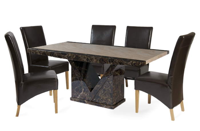 Tenore 180Cm Marble Effect Dining Table With 6 Cannes Brown Chairs Pertaining To Well Known Dining Tables And 6 Chairs (Gallery 7 of 20)