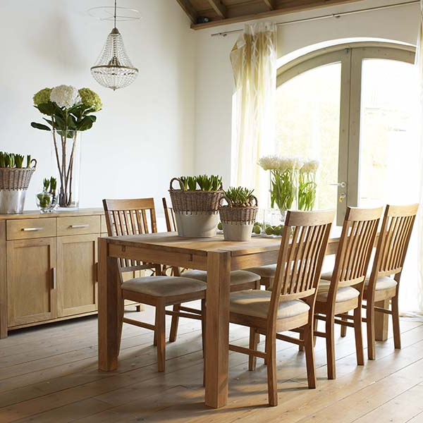 The Hannover Oak Dining Room Table, 4 Fabric Chairs And Sideboard Inside Recent Oak Fabric Dining Chairs (View 18 of 20)