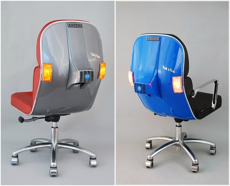 The Vespa Chairs: Old Piaggio Scooters Transformed Into Office Chairs Throughout Well Known Vespa Side Chairs (View 10 of 20)