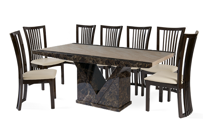 Thomas Brown Furnishings In Fashionable Dining Tables And 8 Chairs Sets (View 14 of 20)