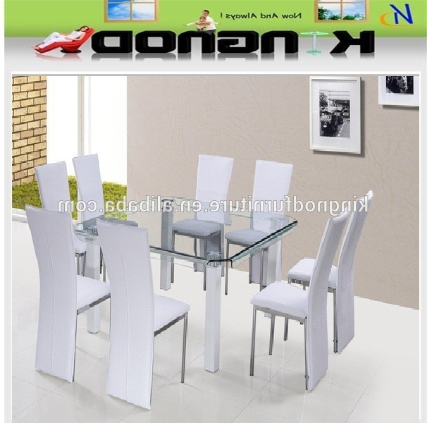 Tianjin Funiture Supplier 8 Seater Space Saving Curve Tempered Glass Pertaining To Well Known Eight Seater Dining Tables And Chairs (View 19 of 20)