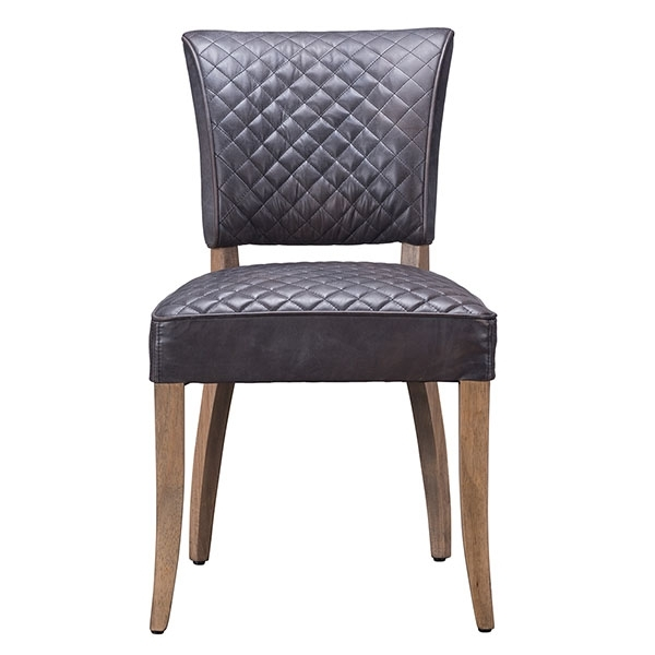 Timothy Oulton Mimi Destroyed Leather Quilted Dining Chair, Black Pertaining To Favorite Quilted Black Dining Chairs (View 14 of 20)