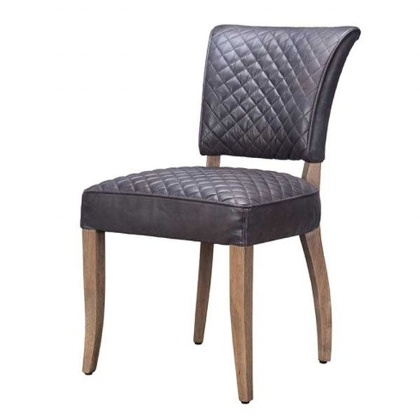Timothy Oulton Mimi Destroyed Leather Quilted Dining Chair, Black Throughout 2017 Quilted Black Dining Chairs (View 17 of 20)