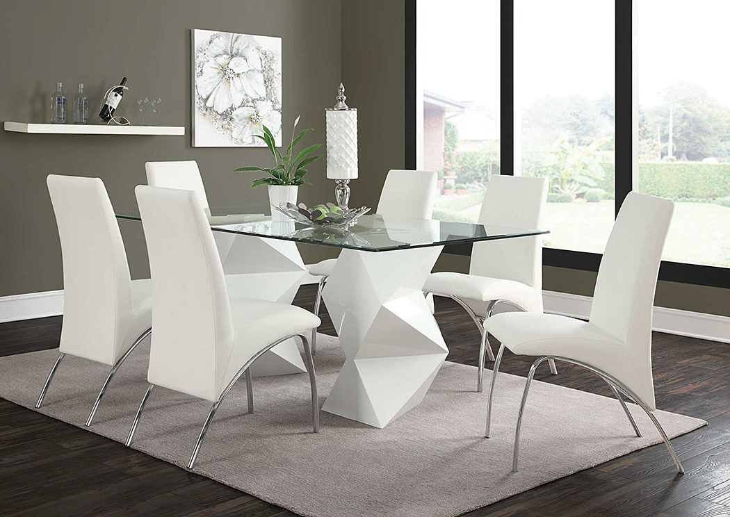 Today's Furniture Design – Philadelphia, Pa White & White Dining Pertaining To Fashionable Logan 6 Piece Dining Sets (Gallery 15 of 20)