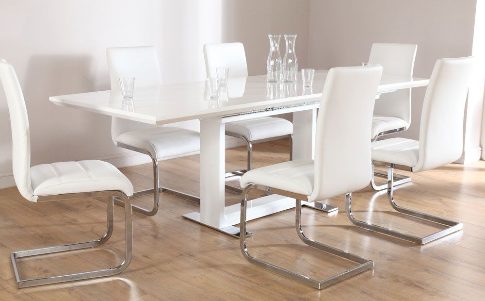 Tokyo & Perth Extending White High Gloss Dining Table & 4 6 8 Chairs For Fashionable White Dining Tables With 6 Chairs (View 13 of 20)