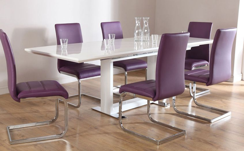 Tokyo White High Gloss Extending Dining Table – With 6 Perth Purple For Most Up To Date Dining Tables And Purple Chairs (View 17 of 20)