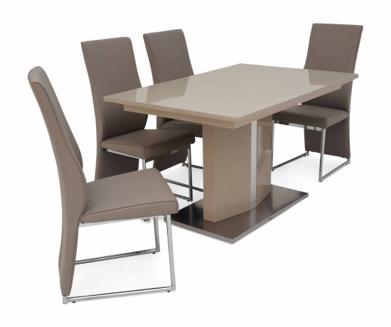 Torelli Silvio Ext Cream High Gloss Dining Table + 4 Remo Chairs Sil With Regard To Most Recently Released Cream Gloss Dining Tables And Chairs (View 8 of 20)