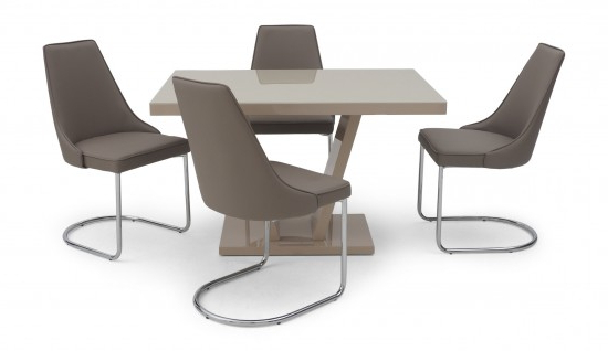 Torelli Valentino Cream High Gloss Dining Table + 4 Mya Chairs Val With Latest High Gloss Dining Furniture (View 19 of 20)