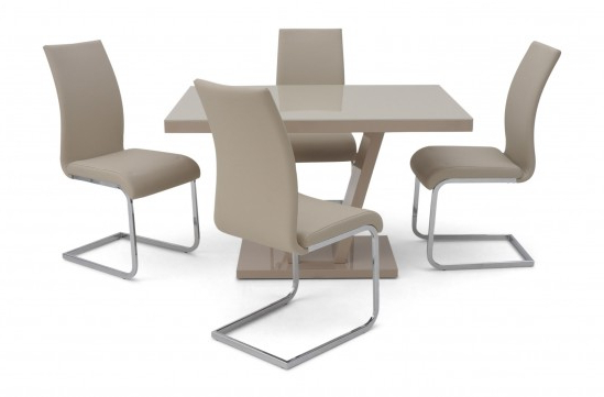 Torelli Valentino Cream High Gloss Dining Table + 4 Paolo Chairs Val Regarding Well Liked Gloss Dining Tables (View 16 of 20)