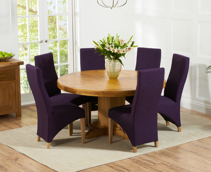 Torino 150Cm Solid Oak Round Pedestal Dining Table With Henley Within 2018 Pedestal Dining Tables And Chairs (View 18 of 20)