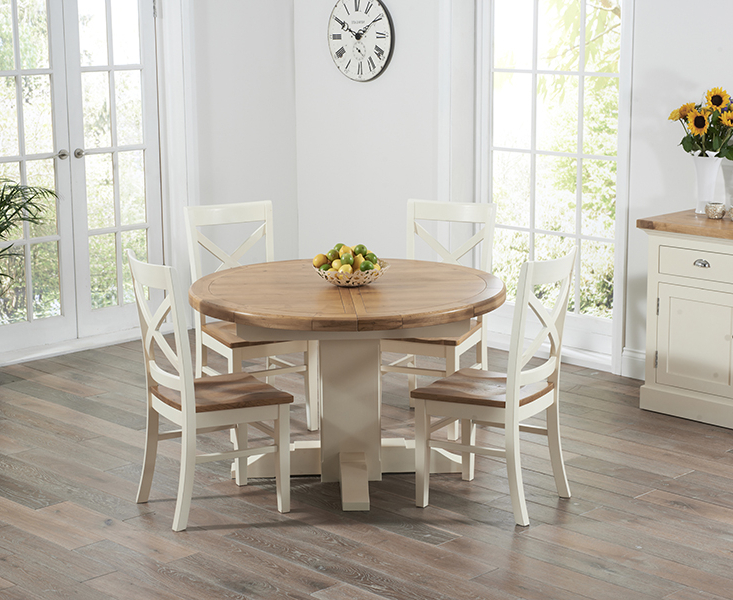 Torino Oak & Cream Extending Pedestal Dining Table With Cavendish Chairs Intended For Best And Newest Cream And Wood Dining Tables (View 15 of 20)