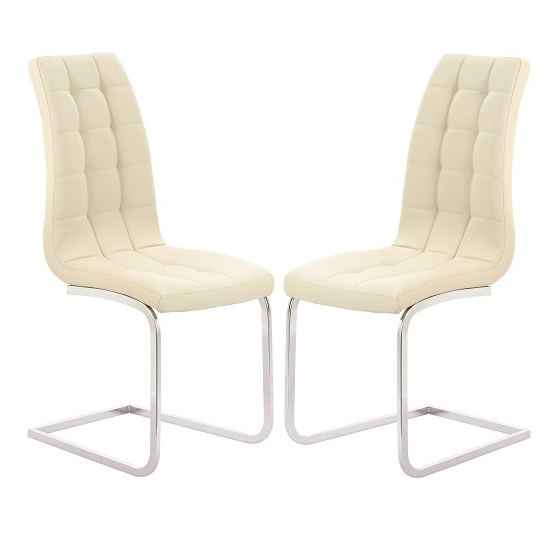 Torres Dining Chair In Cream Faux Leather With Chrome Legs Inside Popular Cream Leather Dining Chairs (View 7 of 20)