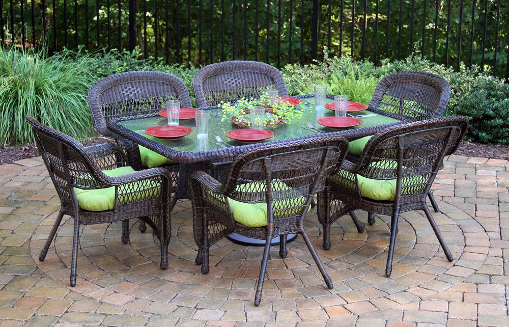 "Tortuga Outdoor Portside 7 Piece 66"" Wicker Dining Set – Wicker Inside Trendy Outdoor Tortuga Dining Tables (View 16 of 20)"