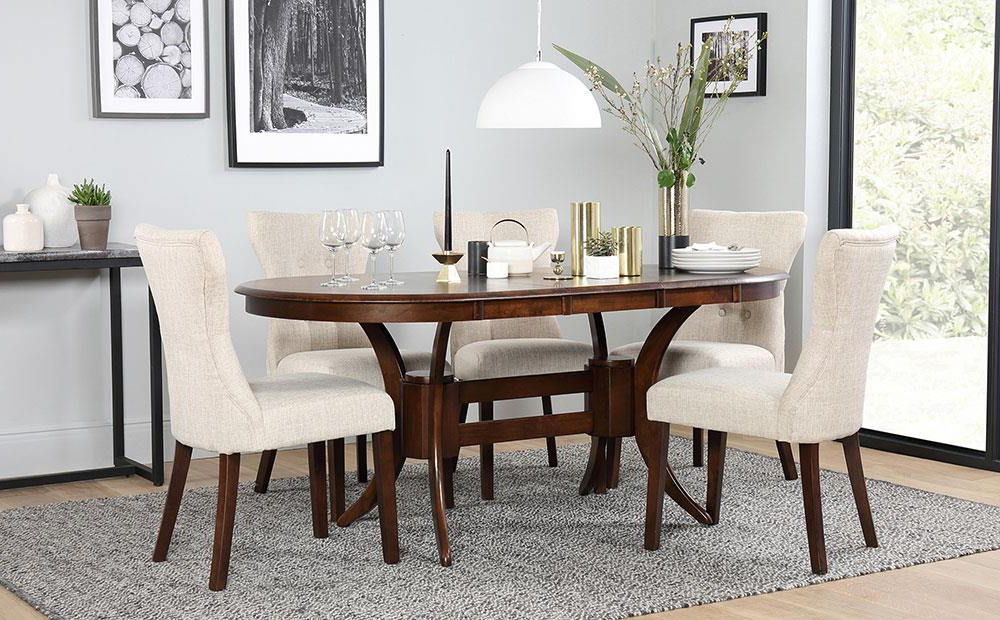 Townhouse Oval Dark Wood Extending Dining Table And 6 Chairs Set In Trendy Dark Wood Extending Dining Tables (Gallery 2 of 20)