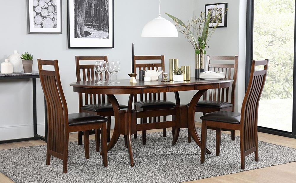 Townhouse Oval Extending Dark Wood Dining Table And 6 Java Chairs Throughout Most Up To Date Dark Wood Dining Tables And 6 Chairs (View 18 of 20)