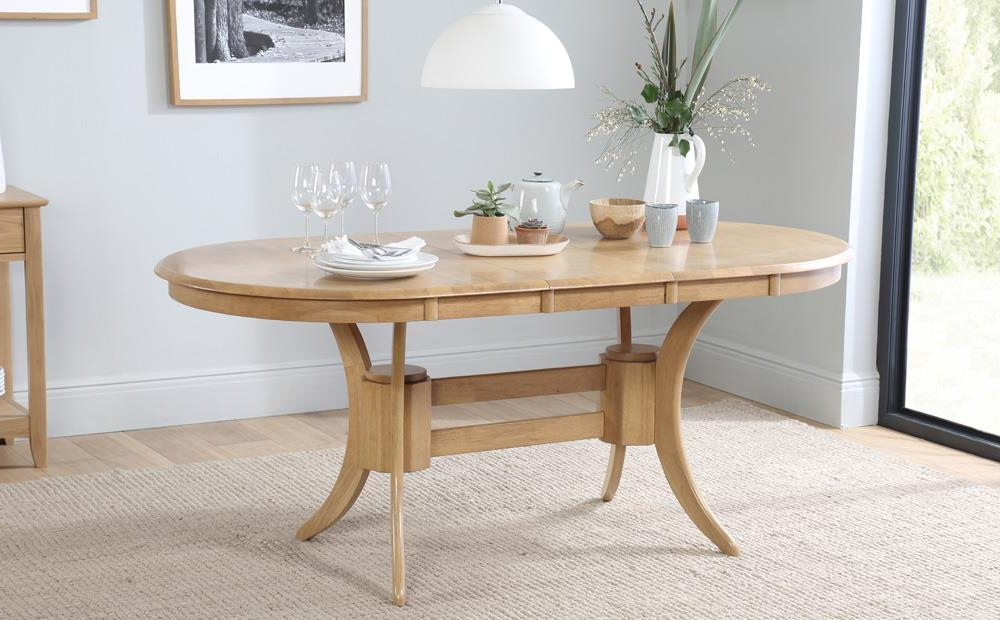 Townhouse Oval Extending Dining Table & 6 Chairs Set (regent Oatmeal Pertaining To Most Current Oval Extending Dining Tables And Chairs (View 8 of 20)