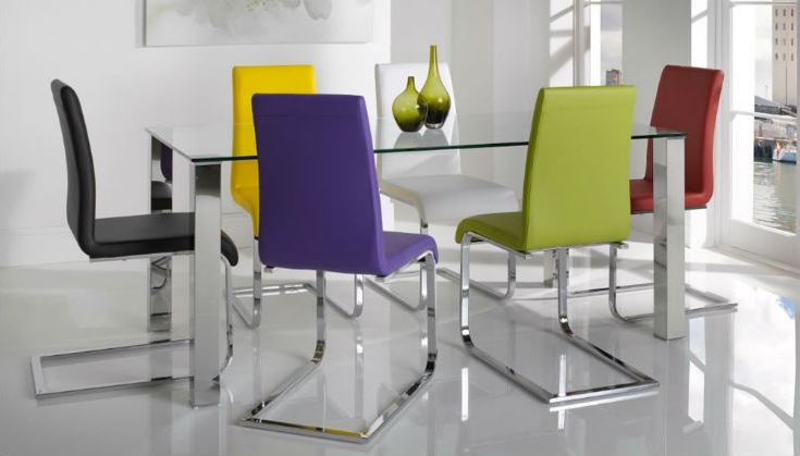 Trendy 11. Different Colour Mismatched Chairs Barletto Clear Glass Dining Table With Colourful Dining Tables And Chairs (Gallery 10 of 20)