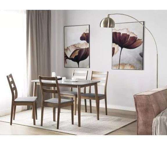 Trendy 4 Seater Dining Table & Chair Set Dark Brown Wood Grey Faux Leather Intended For Dark Brown Wood Dining Tables (View 19 of 20)