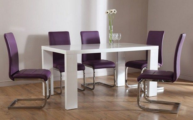 Trendy 4. Wonderful Purple Dining Room Sets With Oval Wooden Dining Table Intended For Dining Tables And Purple Chairs (Gallery 11 of 20)