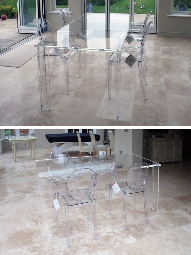Trendy Acrylic Furniture Is Famed For How Well It Keeps Spaces Looking With Regard To Acrylic Dining Tables (View 2 of 20)