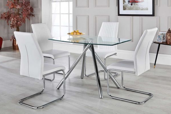 Trendy Alexa White Dining Table Set With 4 Chairs – Free Delivery With Dining Room Glass Tables Sets (View 16 of 20)