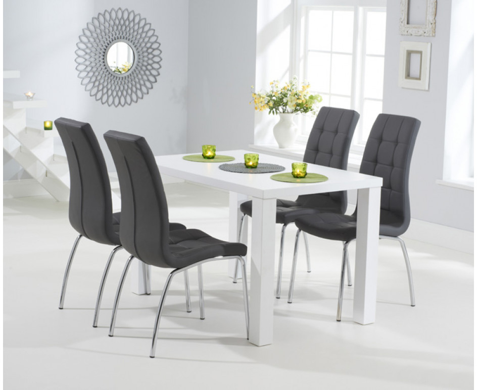 Trendy Atlanta 120Cm White High Gloss Dining Table With Calgary Chairs Pertaining To White Gloss Dining Tables 120Cm (View 11 of 20)