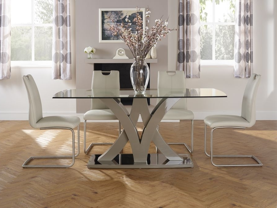 Trendy Barcelona Dining Tables Pertaining To Serene Barcelona Glass Dining Table (View 4 of 20)