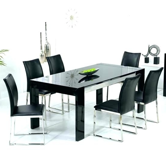 Trendy Black Glass Dining Tables 6 Chairs For Black Glass Dining Table Set Black Glass Dining Table Black Glass (View 14 of 20)