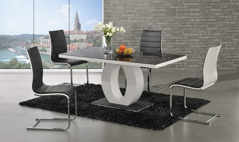 Trendy Black Gloss Dining Sets Within Polo White High Gloss Dining Table 4 Chairs – Homegenies (View 17 of 20)