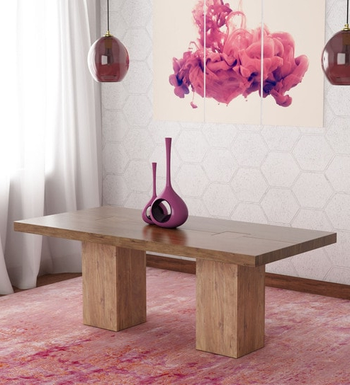 Trendy Buy Portland Solid Wood Six Seater Dining Table In Premium Acacia With Portland 78 Inch Dining Tables (View 17 of 20)