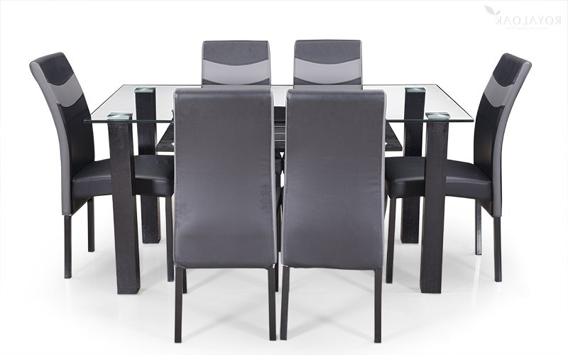 Trendy Buy Royaloak Micra 6 Seater Dining Set With Tempered Glass Top And Throughout Glass Top Oak Dining Tables (Gallery 16 of 20)