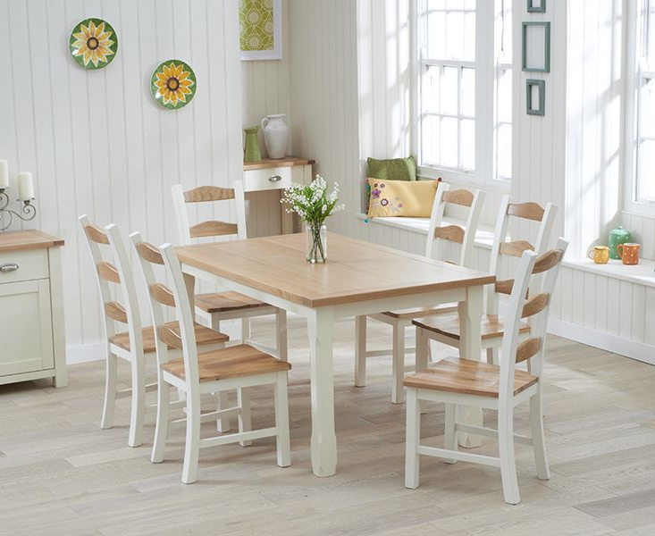 Trendy Buy The Somerset 150Cm Oak And Cream Dining Table With Chairs At Oak For Cream And Wood Dining Tables (View 16 of 20)