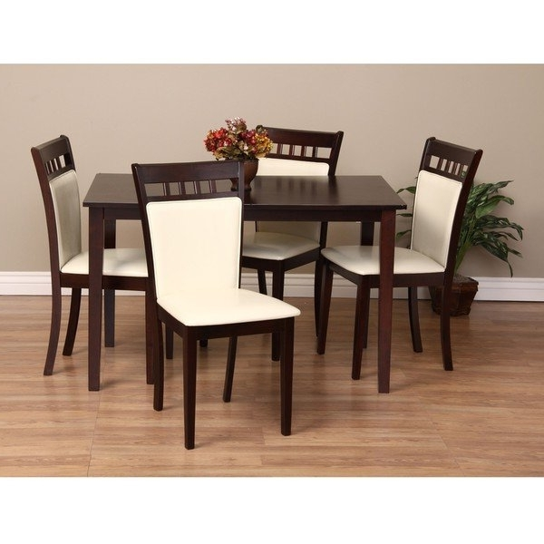 Trendy Caden 5 Piece Round Dining Sets With Upholstered Side Chairs With Warehouse Of Tiffany Shirlyn 5 Piece Dining Furniture Set – Free (View 15 of 20)