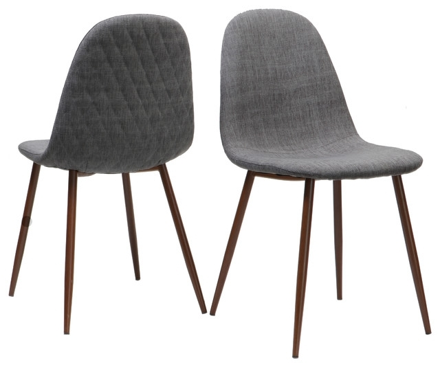 Trendy Camden Mid Century Fabric Dining Chairs With Wood Finished Legs, Set Throughout Camden Dining Chairs (View 7 of 20)