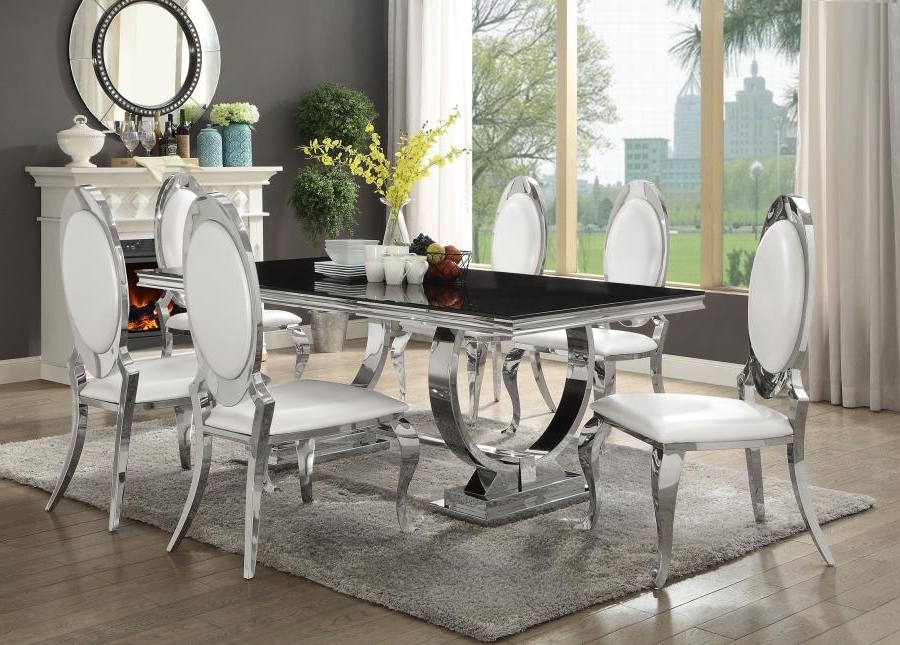 Trendy Chrome Dining Room Chairs With Regard To Antoine Collection Dining Room Chrome Metal Base Table Set With (View 12 of 20)