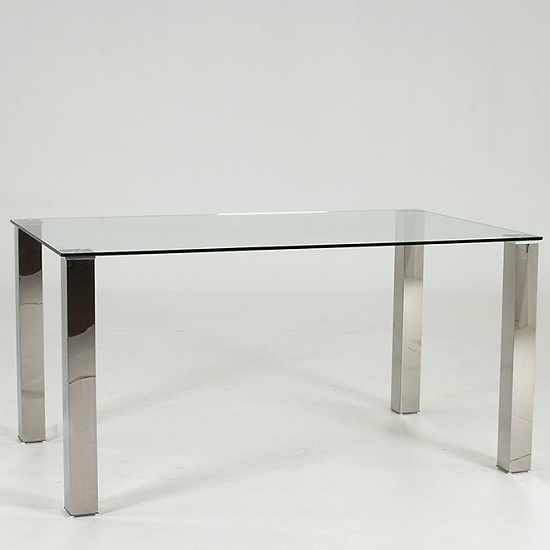 Trendy Chrome Dining Tables In Splash Dining Table Rectangular In Clear Glass With Chrome (View 4 of 20)